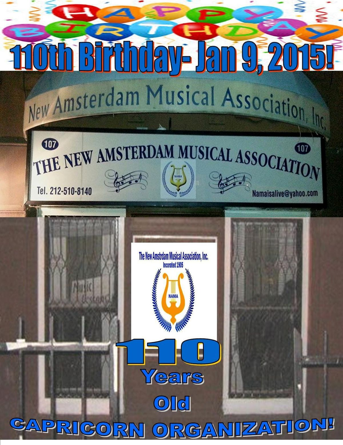 DISCOVER the NEW AMSTERDAM MUSICAL ASSOC (NAMA ) -  A World Renowned Attraction
