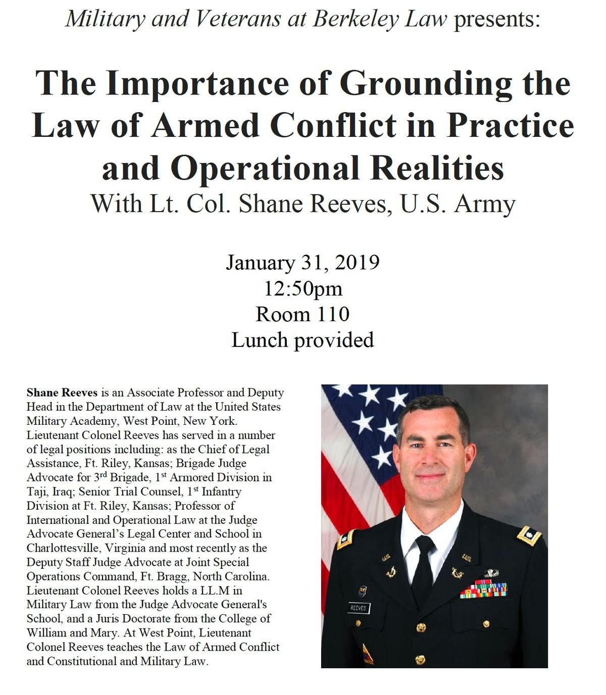 MVBL Lunch Talk Grounding the Law of Armed Conflict in Practice and Operational Realities