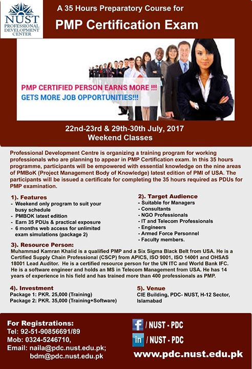 A 35 Hours Preparatory Course For Pmp Certification Exam At Cie