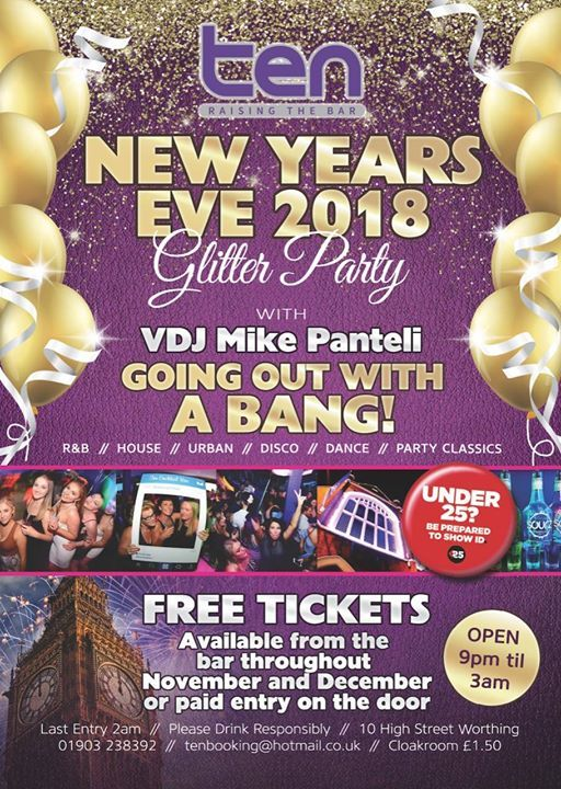 fe7a062ca3 New Years Eve with Mike Panteli at Ten Cocktail Bar, Worthing