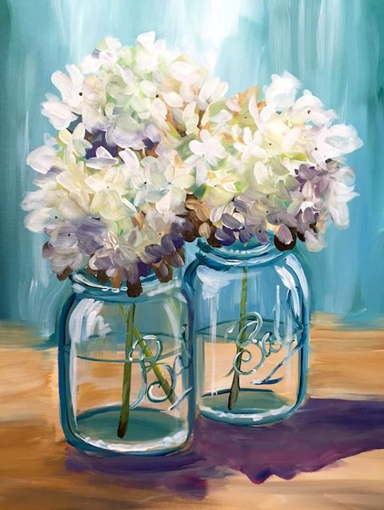 Happy hydrangeas at painting with a twist middletown de for Painting with a twist arizona
