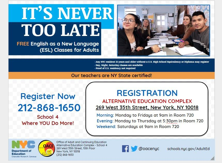 Free English As A Second Language Esl Class Registration At