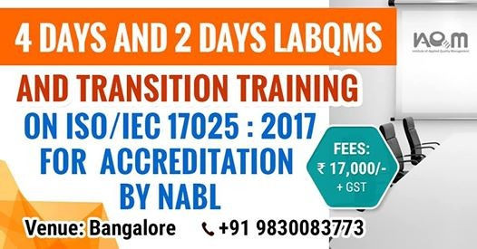 training on iso iec 17025 2017 at bangalore india