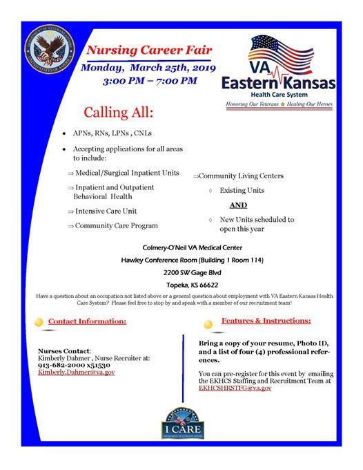 Va Topeka Ks >> Va Eastern Kansas Nursing Career Fair At Topeka Va Medical