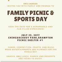 Family picnic and sports day Sunday July 23rd 2017