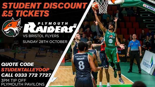 student offer plymouth raiders vs bristol flyers at plymouth