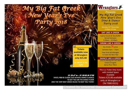 My Big Fat Greek New Years Eve Party 2018 at Wranglers Beer