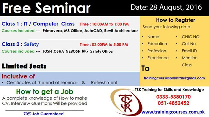 free seminar with free certificates refreshment at office 229
