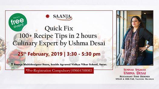 Quick Fix- 100 Recipes by Culinary Expert Ushma Desai