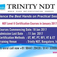 NDT Certification Courses - January 2015 by Trinity NDT