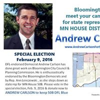 Keep Bloomington Blue On Feb. 9 2016 elect Andrew Carlson