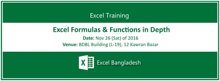 Training: Excel Formulas & Functions in Depth at Bdjobs Training, Dhaka