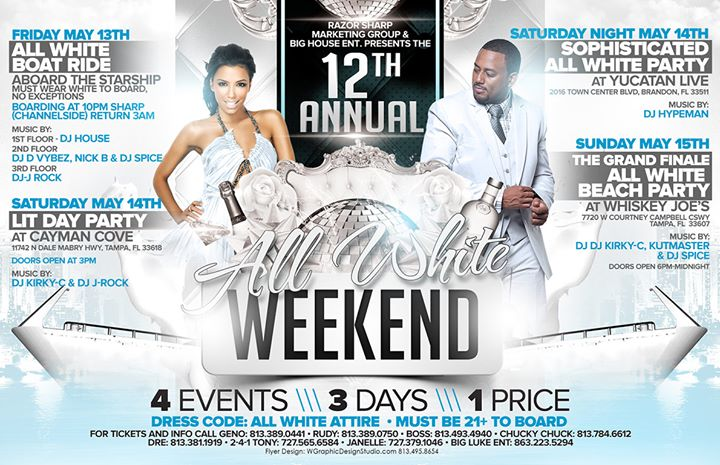 12th annual all white yacht party at yacht starship dining