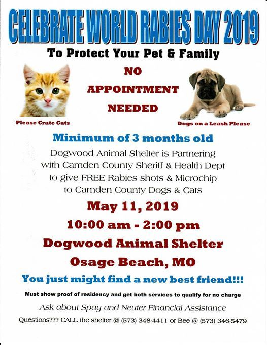 Free Rabies & Microchip Clinic at Dogwood Animal Shelter