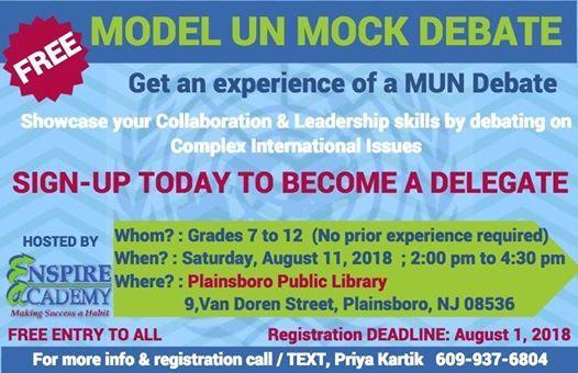Model Un (MUN) Mock Debate at Plainsboro Public Library, Jersey