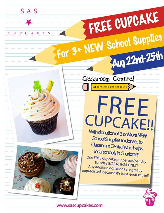 Free Cupcake for 3 New School Supplies