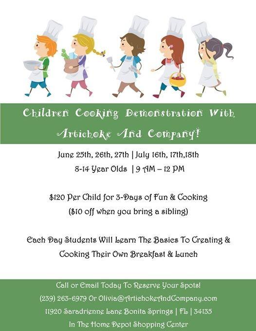 Children Cooking Demo Three Day Summer Camp