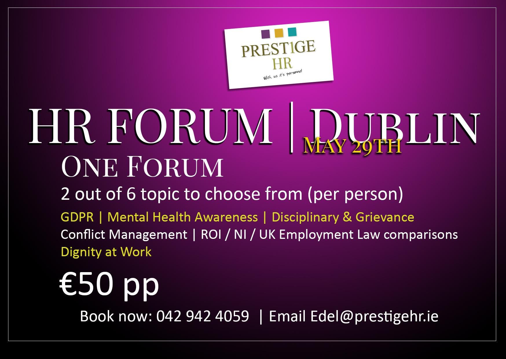 HR Forum Dublin Pick Your Topics