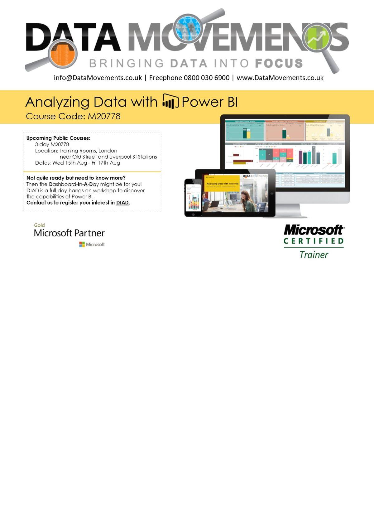 M20778 3-Day Public Class Analyzing Data with PowerBI - Birmingham
