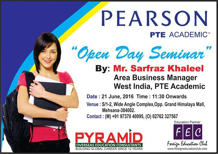 Open Day Seminar on PTE Academic by Mr  Sarfaraz Khaleel, Area