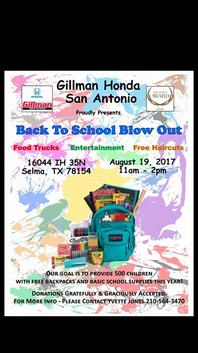 Tacos For Back To School Blowout. Come Support Gillman Honda San Antonio ...