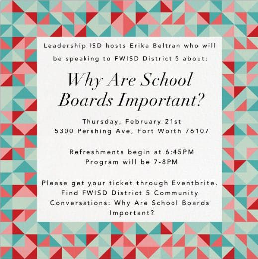 FWISD District 5 Community Conversations: Why Are School