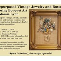 Repurposed Vintage Jewelry Spring Bouquet Art