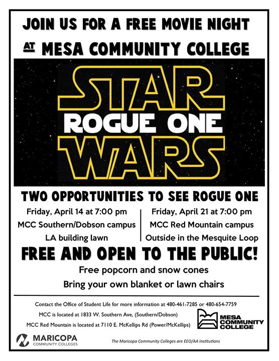 Mesa Community College Dobson Campus Map.Free Movie Night Star Wars Rogue One Southern Dobson Campus At