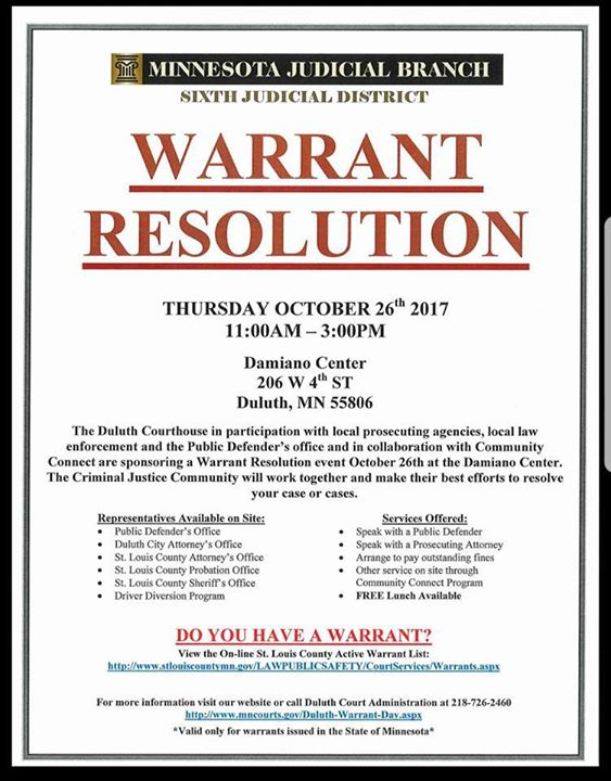 Warrant Resolution at Damiano Center, Duluth