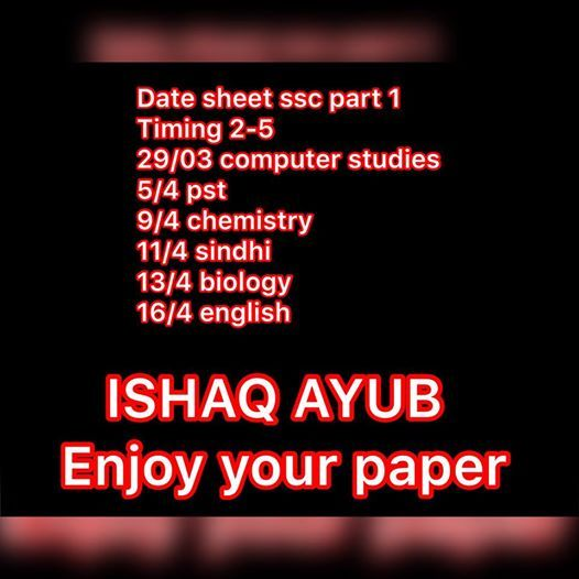 Ssc Part 1  Board Paper Date Sheet