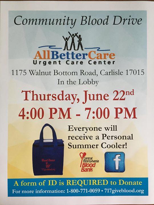 AllBetterCare Carlisle Blood Drive at 1175 Walnut Bottom Rd