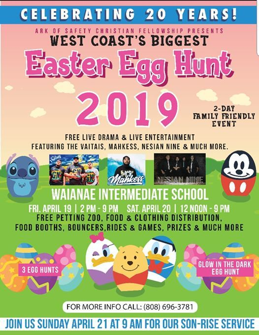 20th Annual West Coast Biggest Easter Egg Hunt at Waianae
