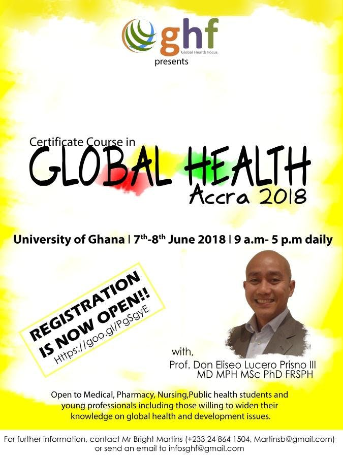 Certificate Course In Global Health Accra 2018 At University Of
