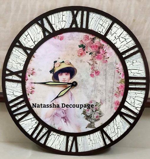 Vintage wall clock  Decoupage workshop for beginners