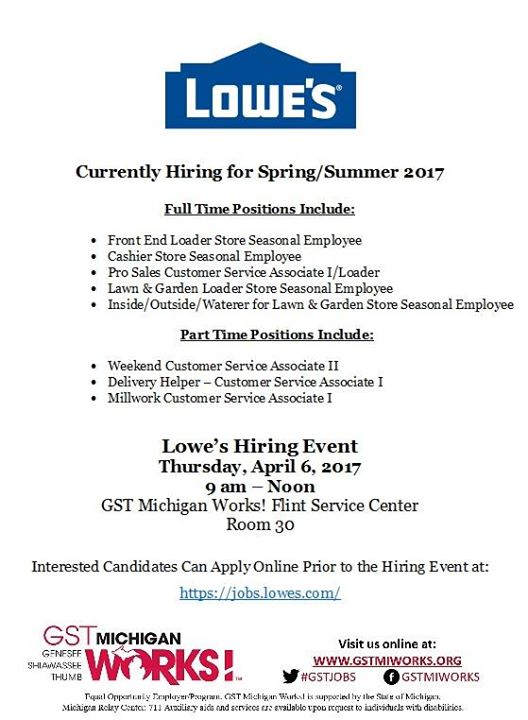 Lowes Job Fair At Gst Michigan Works Genesee County Flint