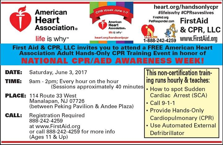 Free Hands Only Cpr Training At Manalapan Twp Community Center 114