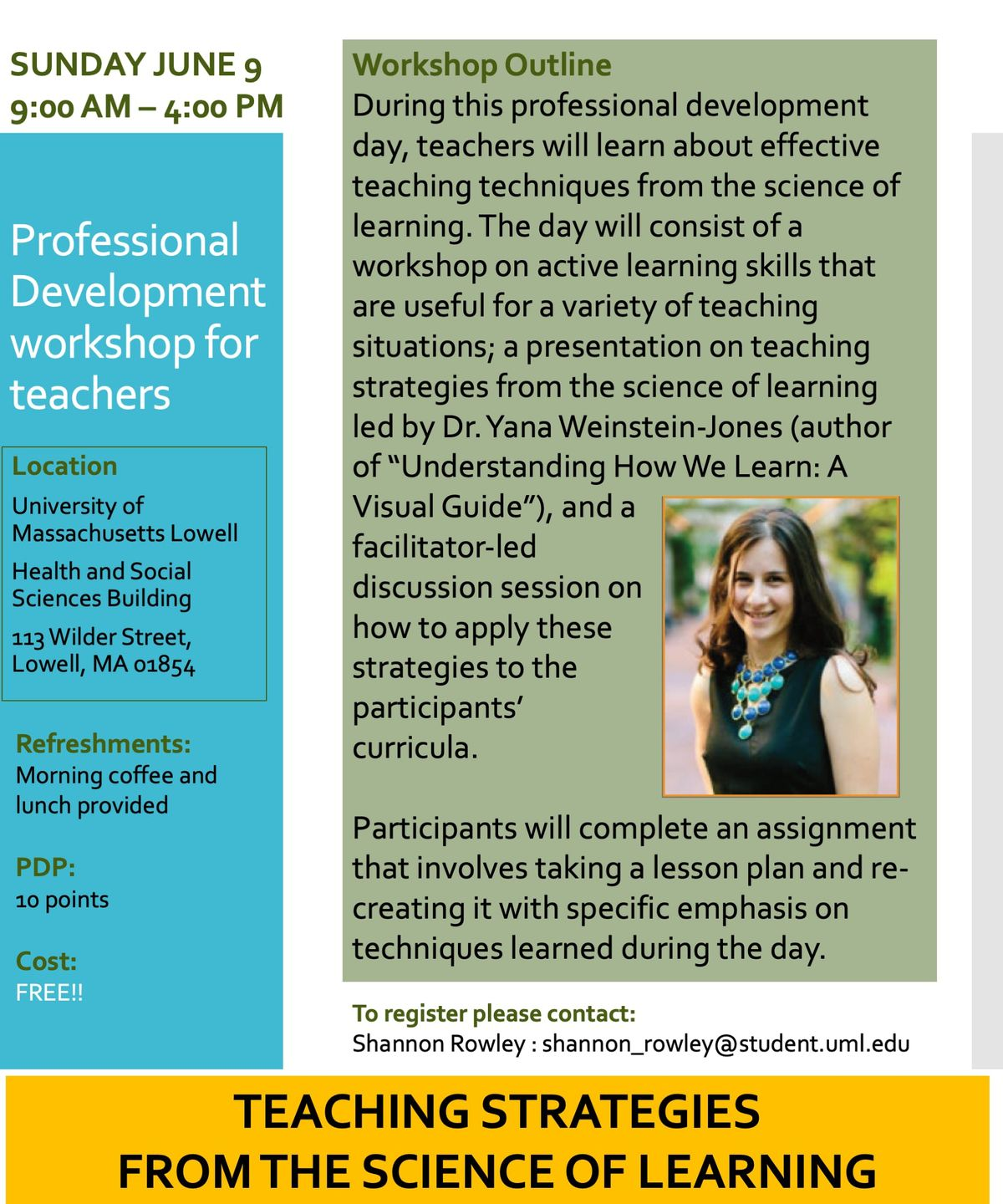 PD Workshop for teachers: Teaching Strategies from the Science of