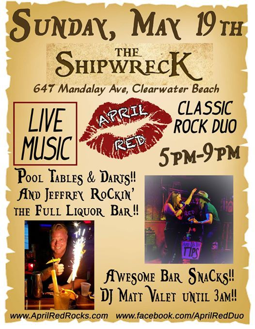 April Red is Back to ROCK the Shipwreck on Clearwater Beach