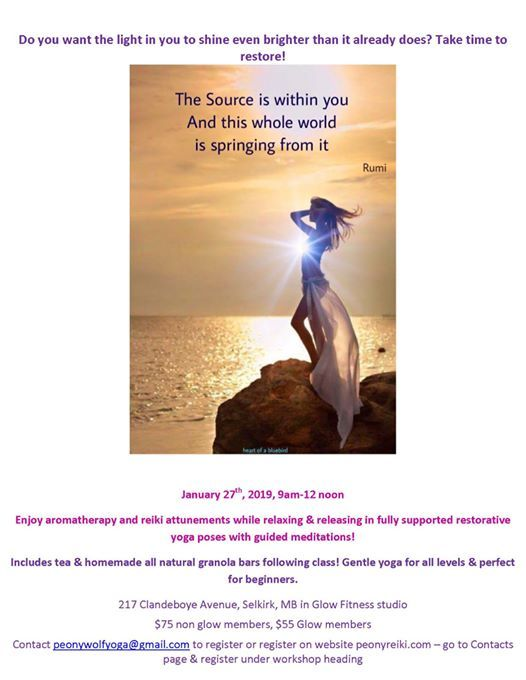 Renew & Restore yoga & meditation at Peony's Reiki Energy