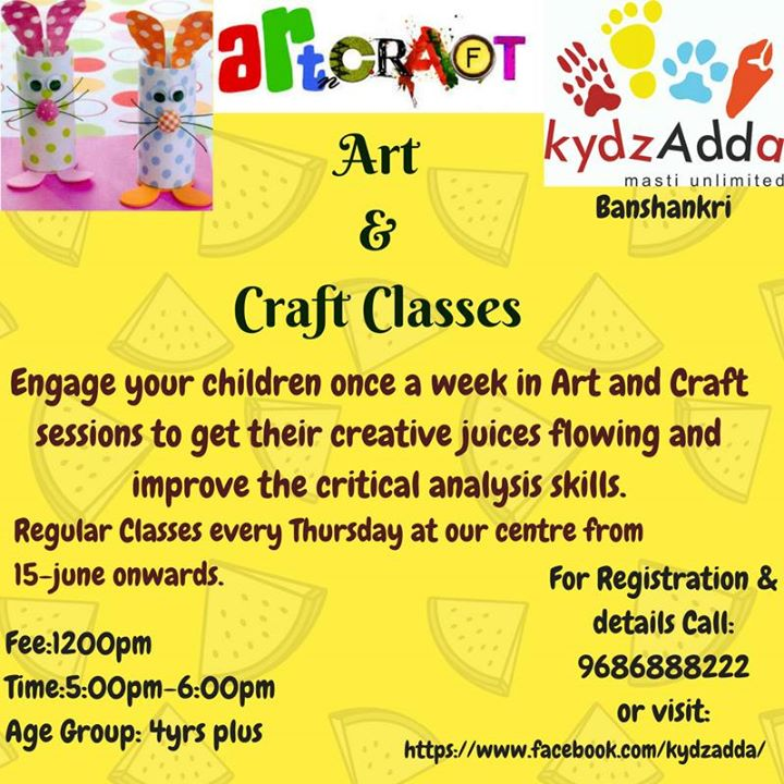 Art craft classes at kydz adda bangalore for Arts and crafts workshops near me