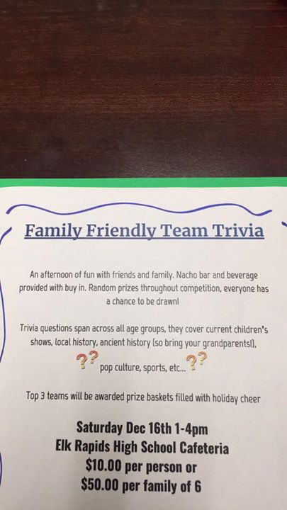 Family Friendly Team Trivia at Elk Rapids High School Cafeteria
