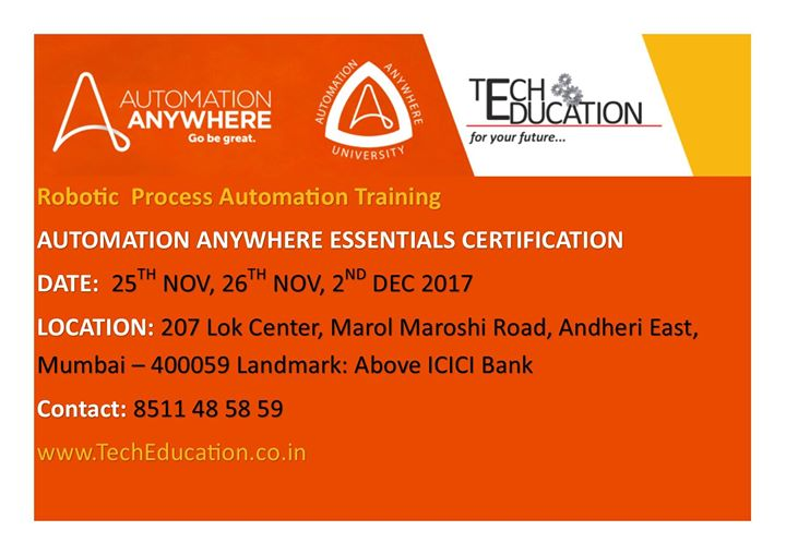 Automation Anywhere Essential Certification Rpa At 207 Lok Center