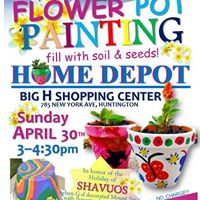 Shavuos Flower pot painting at Huntington Home Depot