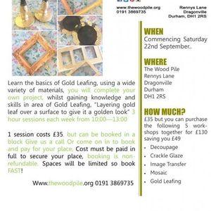 Gold Leafing Workshop At The Wood Pile Durham