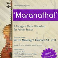 Liturgical Music Workshop for Advent Season w Fr. Manoling