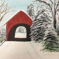 Evening Art - Covered Bridge in Winter