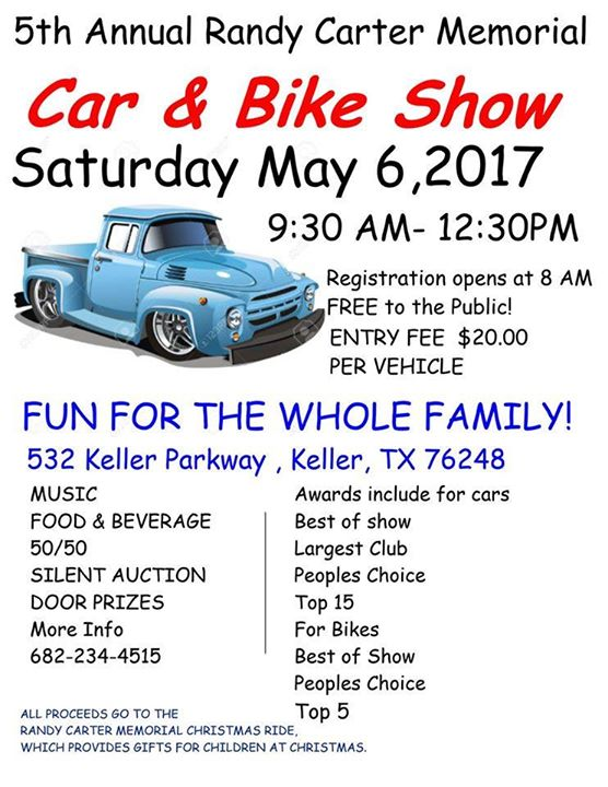 Th Annual Randy Carter Memorial Car Bike Show At Keller Pkwy - Keller car show