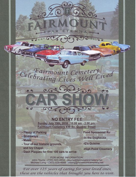 Fairmount Cemetery Annual Car Show At Historic Riverside Fairmount - Car show giveaways