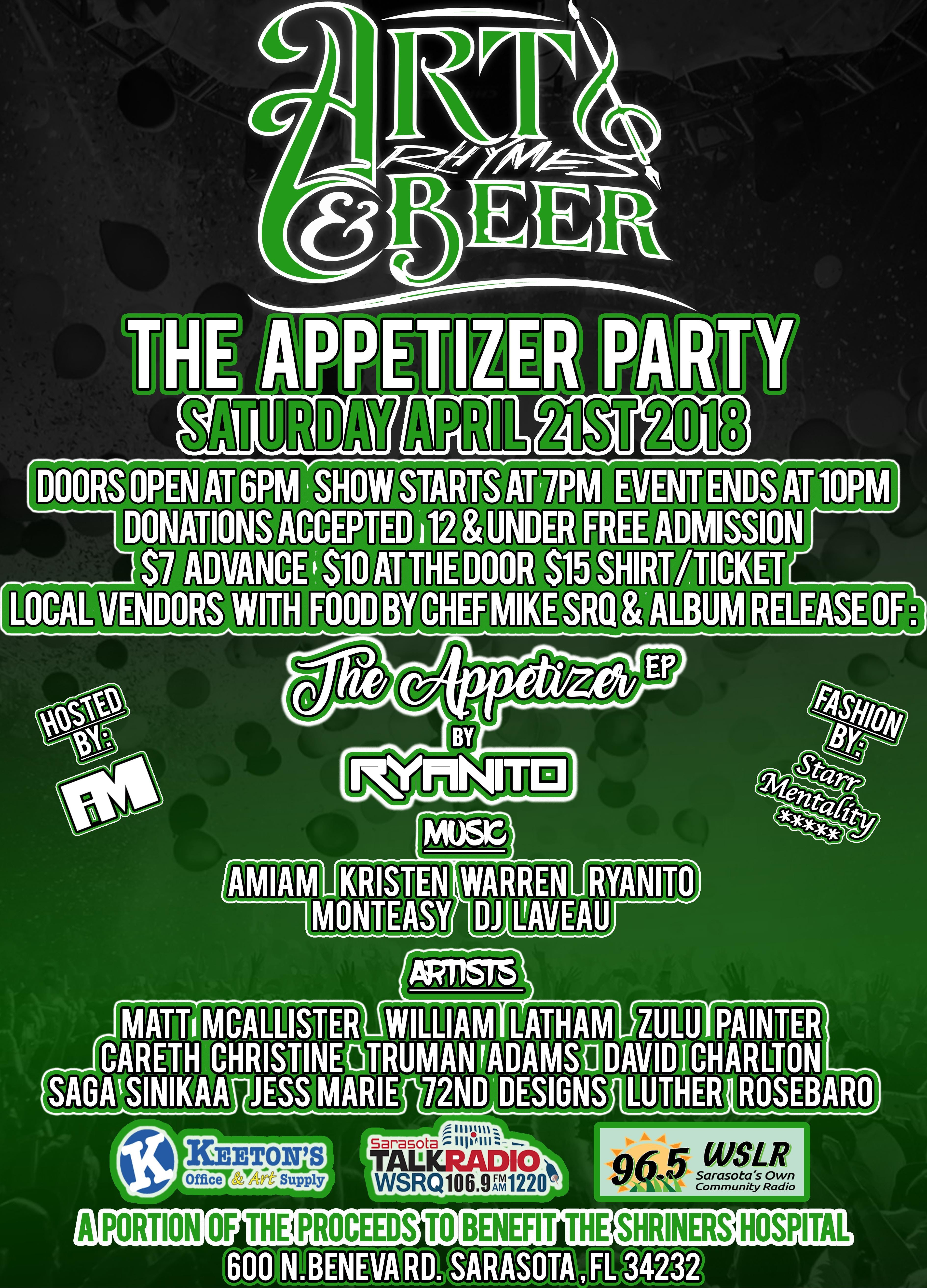 art rhymes and beer presents the appetizer party at the shriners