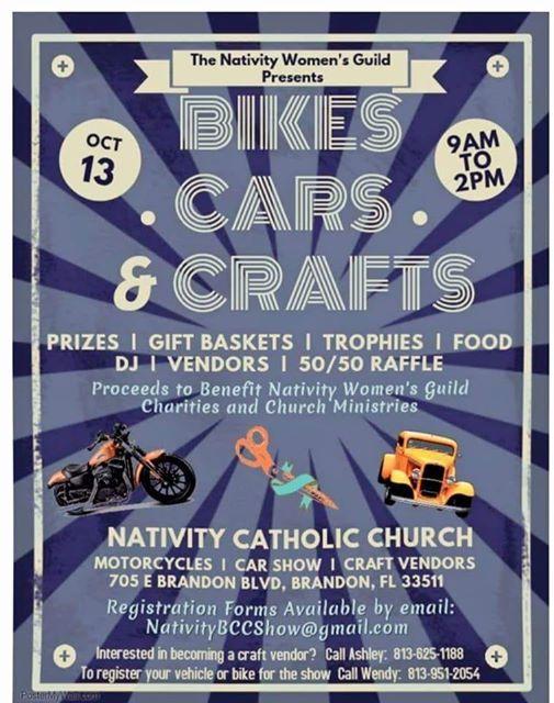 Bikes Cars And Crafts Show At Nativity Catholic Church Florida - Car show brandon fl